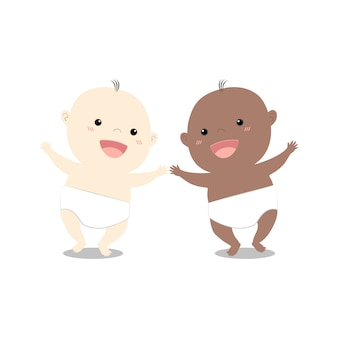 Cute cartoon two baby walking together
