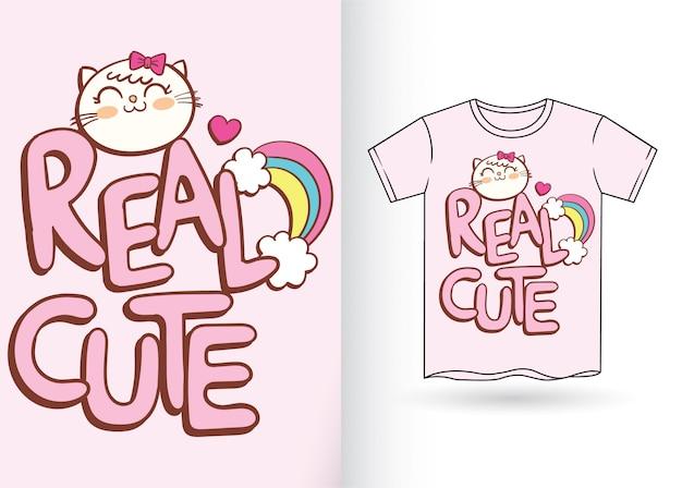 Cute cartoon typography for t shirt
