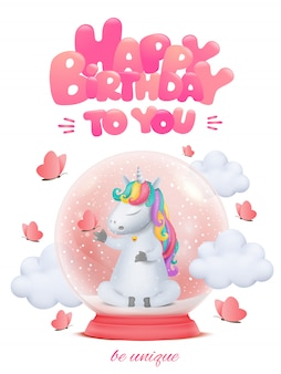 Cute cartoon unicorn character with bell siting in glass snow ball.