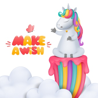Cute cartoon unicorn character with bell siting on rainbow in cloudy sky