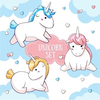 Cute cartoon unicorn characters on sky and hearts background