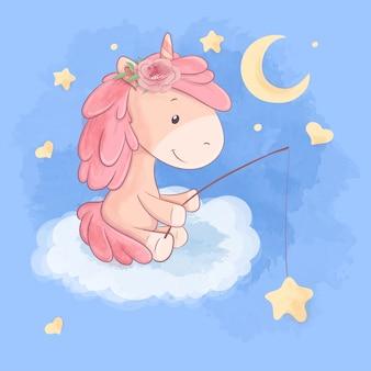 Cute cartoon unicorn on a cloud catches stars.  illustration.