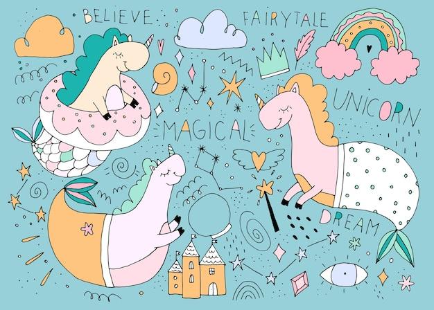 かわいい漫画のユニコーン、人魚のユニコーンのかわいいコレクション、手描きの色、赤ちゃんのものの装飾