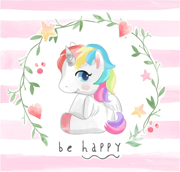 Cute cartoon unicorn in flower frame illustration