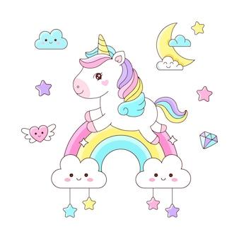 虹のイラストで飛んでいるかわいい漫画のユニコーン