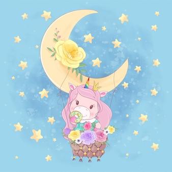 Cute cartoon unicorn girl on a moon balloon with beautiful flowers