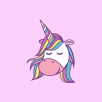 Cute cartoon unicorn illustration sleeping smiling
