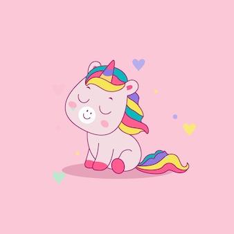 Illustrazione di unicorno simpatico cartone animato