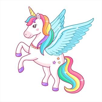 Cute cartoon unicorn pegasus with rainbow mane
