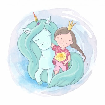 Cute cartoon unicorn and princess girl are best friends. watercolor illustration
