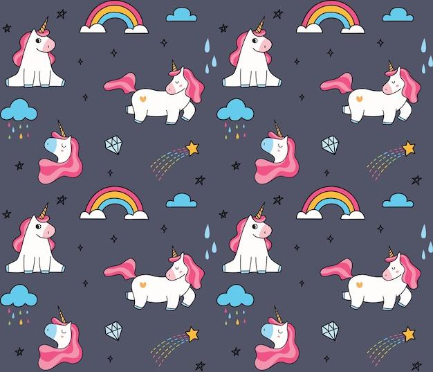 Cute cartoon unicorn seamless background