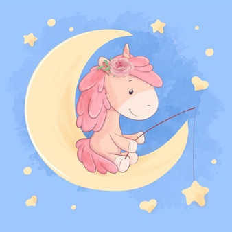 Cute cartoon unicorn sits on the moon and catches the stars illustration