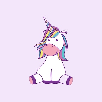 Cute cartoon unicorn vector illustration siting with pink background