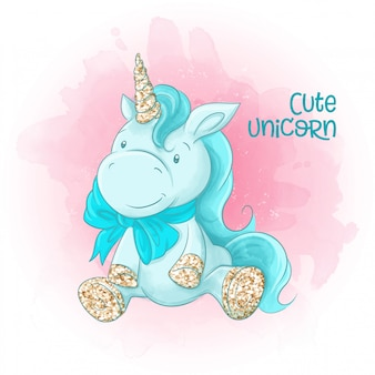 Cute cartoon unicorn on a watercolor background.