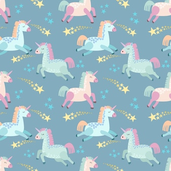 Cute cartoon unicorn with star seamless pattern.
