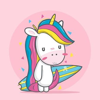 Cute cartoon unicorn with surf board