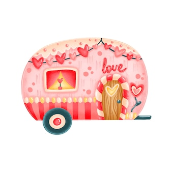 Cute cartoon valentine's day gingerbread house trailer isolated on white background
