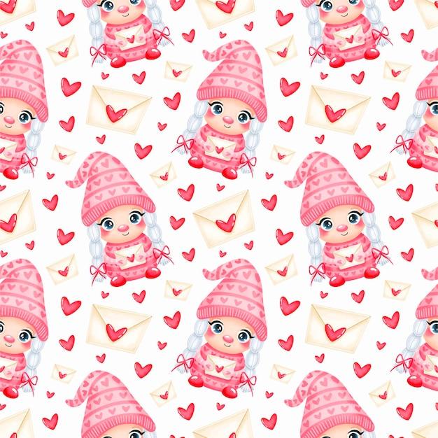 愛のシームレスなパターンでかわいい漫画のバレンタインデーのノームの女の子