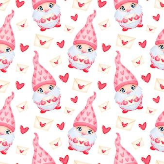 愛のシームレスなパターンでかわいい漫画のバレンタインデーのノーム