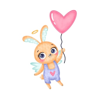 Cute cartoon valentine's day illustration of bunny cupid with wings isolated on white background