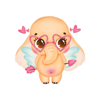 Cute cartoon valentine's day illustration of elephant cupid with wings isolated on white background