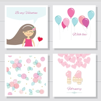 Cute cartoon valentines day or birthday cards and templates set