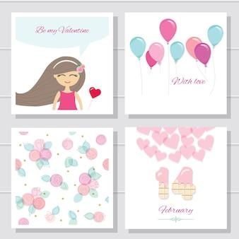 귀여운 만화 발렌타인 데이 또는 생일 카드 및 템플릿 설정