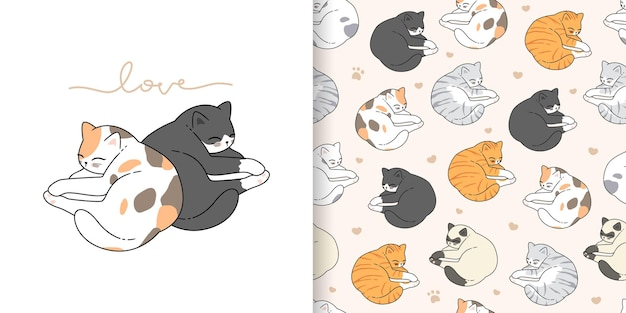 Cute cartoon valentines day sleeping cats seamless pattern