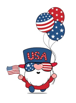 Cute cartoon vector american usa gnome 4th of july independence day illustration