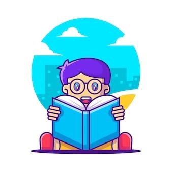 Милый мультфильм векторные иллюстрации мальчик читает книгу. обратно в школу значок концепции