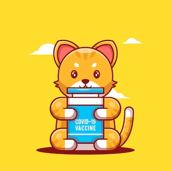 かわいい漫画のベクトルイラスト猫がワクチンボトルを保持しています。医学と予防接種のアイコンの概念