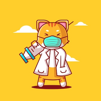 Cute cartoon vector illustrations cat holding vaccine inject medicine and vaccination icon concept