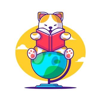 Cute cartoon vector illustrations cat reading a book on a globe. back to school icon concept