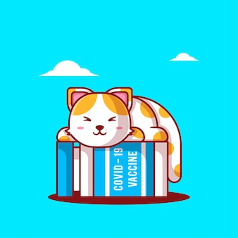 かわいい漫画のベクトルイラスト猫がワクチンボトルで眠っています。医学と予防接種のアイコンの概念