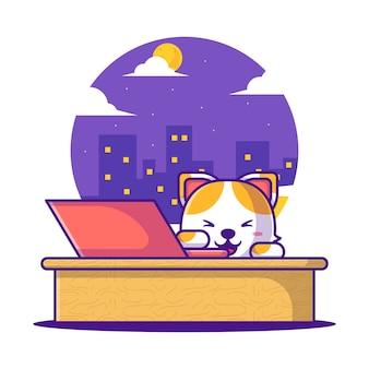 귀여운 만화 벡터 일러스트 노트북으로 공부 하는 고양이. 학교 아이콘 개념으로 돌아가기