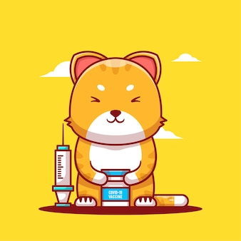 Cute cartoon vector illustrations cat with inject vaccine and bottle. medicine and vaccination icon concept