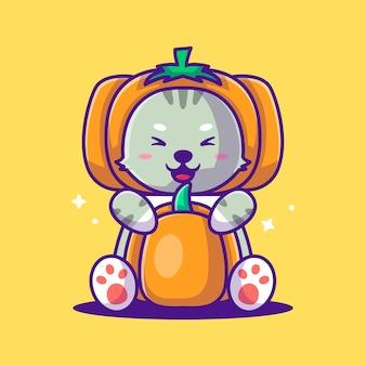 호박 의상으로 귀여운 만화 벡터 일러스트 고양이입니다. 세계 채식의 날 개념