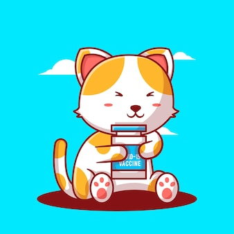 Cute cartoon vector illustrations cat with vaccine bottle. medicine and vaccination icon concept