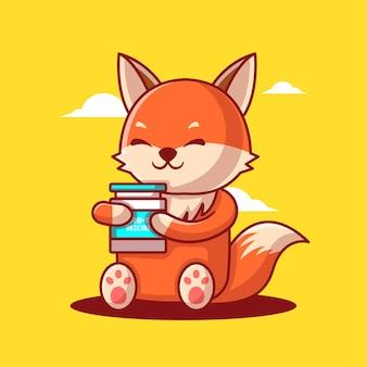 かわいい漫画のベクトルイラスト狐はワクチンの装備を保持しています。医学と予防接種のアイコンの概念