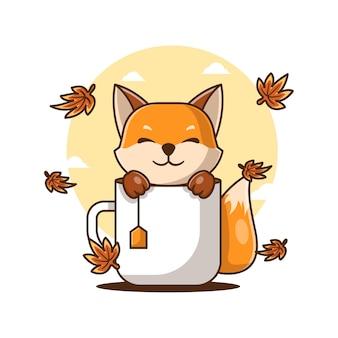 かわいい漫画のベクトルイラスト秋のお茶とキツネ。秋のアイコンの概念
