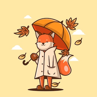 かわいい漫画のベクトルイラスト秋の傘とキツネ。秋の日のアイコンの概念
