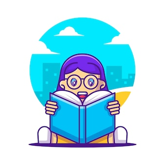 Cute cartoon vector illustrations girl student reading a book. back to school icon concept