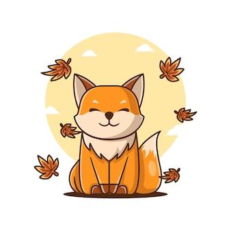 かわいい漫画のベクトルイラスト笑顔のキツネ秋へようこそ。秋のアイコンの概念