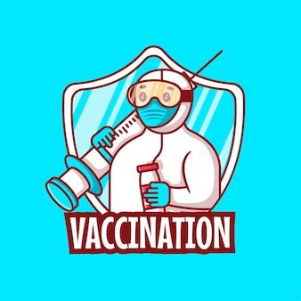 かわいい漫画のベクトルイラスト予防接種キャンペーン。医学と予防接種のアイコンの概念