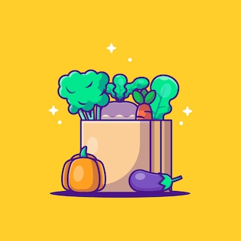 Милый мультфильм векторные иллюстрации овощи в хозяйственной сумке. концепция всемирного вегетарианского дня