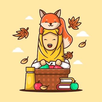 Милый мультфильм векторные иллюстрации женщины с лисой и яблоком в корзине осенью. осенний день значок концепция