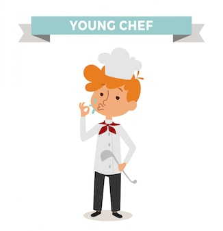 Cute cartoon vector profession chef kid with cook spoon