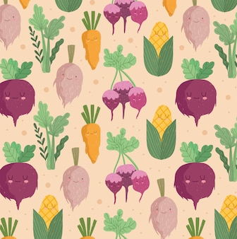 Cute cartoon vegetables