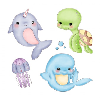 Симпатичные карикатуры акварельные морские животные на белом фоне