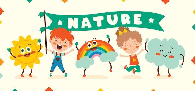 Cute cartoon weather characters posing